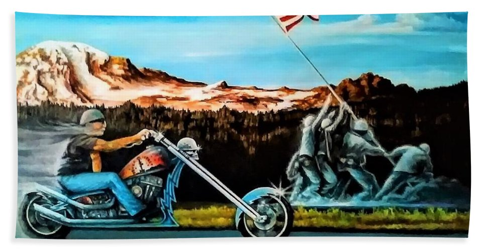 Iwojima Beach Towel featuring the painting Ride Forever by DC Houle