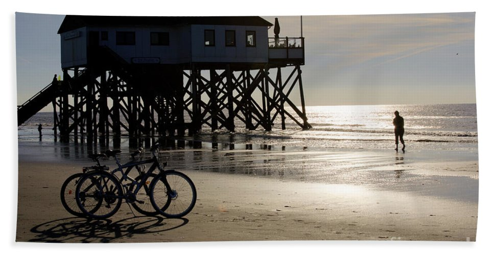St. Peter Ording Beach Towel featuring the photograph Ride Your Bike To The Beach by Heiko Koehrer-Wagner