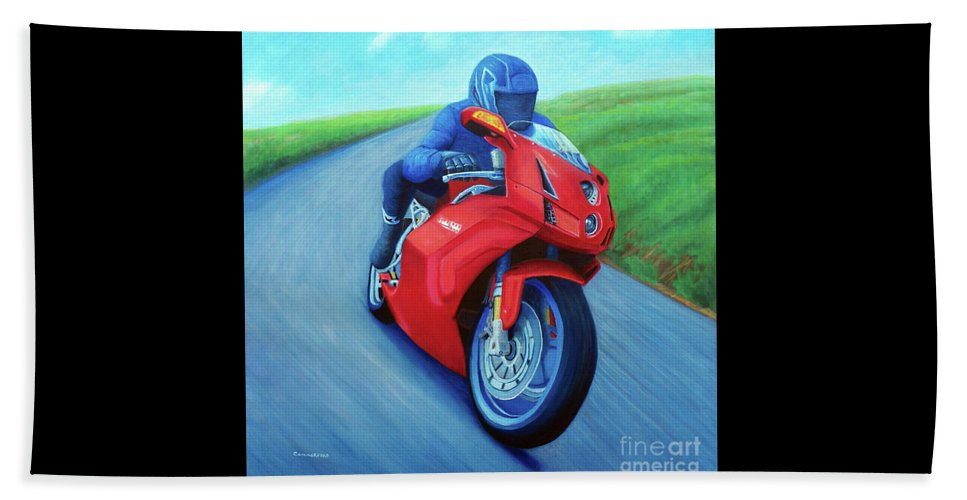 Motorcycle Beach Towel featuring the painting Riding The Highlands - Ducati 999 by Brian Commerford