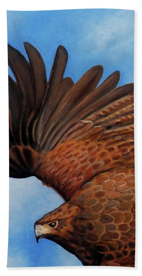 Hawk Beach Towel featuring the painting Riding the Wind by Brian Commerford