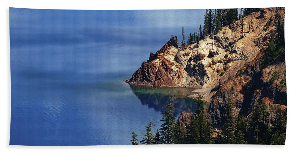 Lake Beach Towel featuring the photograph Right Side Of Crater Lake Oregon by Teri Schuster