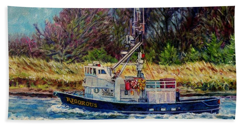 Fishing Boat Oil Painting Beach Towel featuring the painting Rigorous by Cynthia Pride