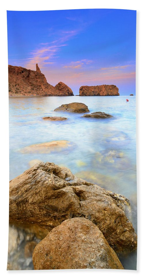Sunset Beach Towel featuring the photograph Rijana Beach Mediterranean Sea by Guido Montanes Castillo