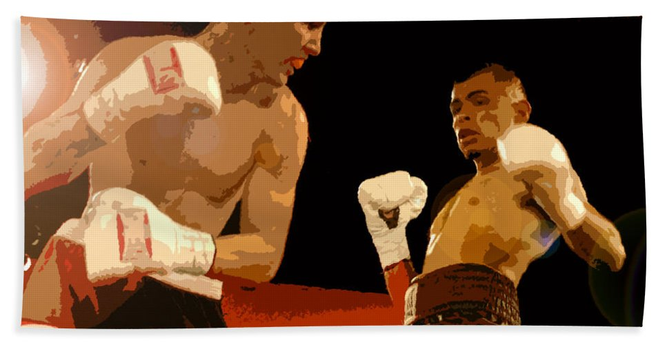 Art Beach Towel featuring the painting Ringside by David Lee Thompson