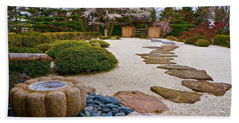 Japanese Garden Beach Towel featuring the photograph Ripples And Serenity by Tim G Ross