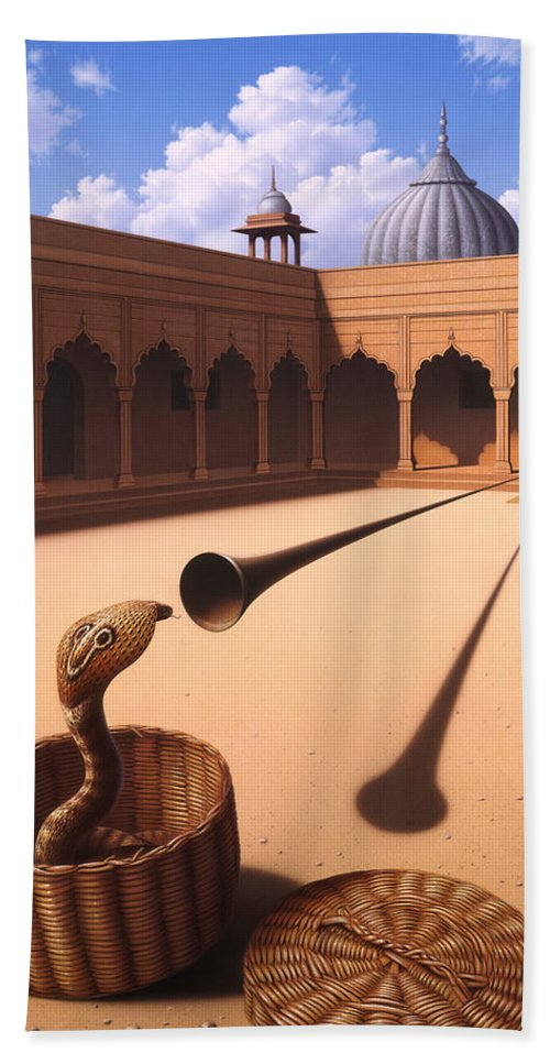 Snake Beach Towel featuring the painting Risk Management by Jerry LoFaro