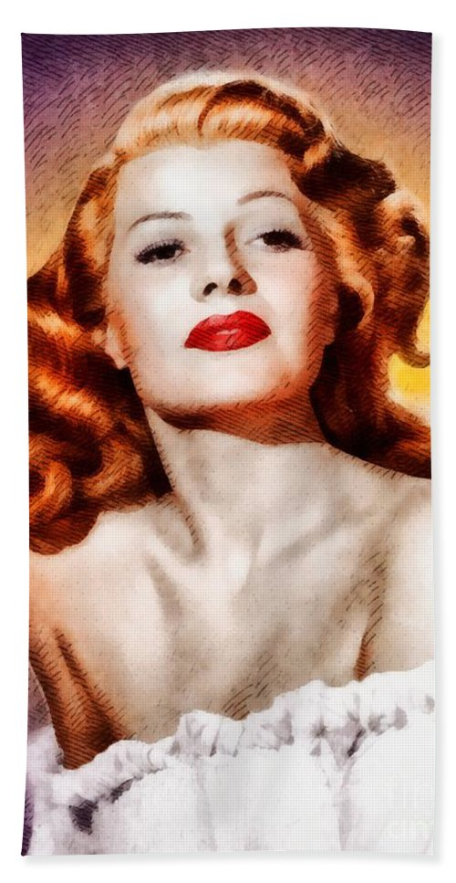 Hollywood Beach Towel featuring the painting Rita Hayworth, Vintage Actress by John Springfield