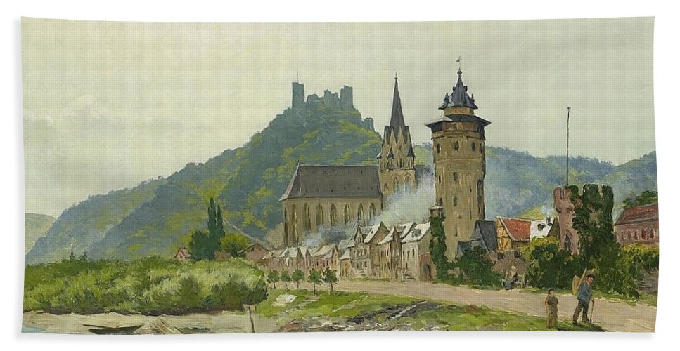 August Jernberg 1826-1896 River Landscape Of The Rhine Beach Towel featuring the painting River Landscape Of The Rhine by MotionAge Designs