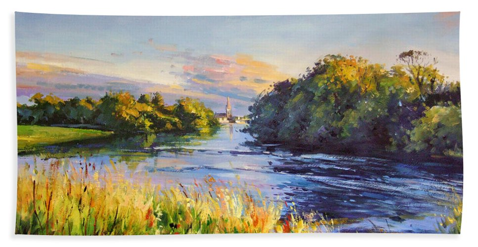 River Moy Ballina Beach Towel featuring the painting River Moy At Ballina by Conor McGuire