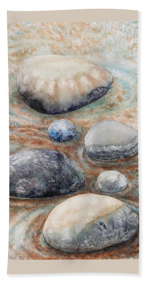Abstract Beach Towel featuring the painting River Rock 2 by Valerie Meotti