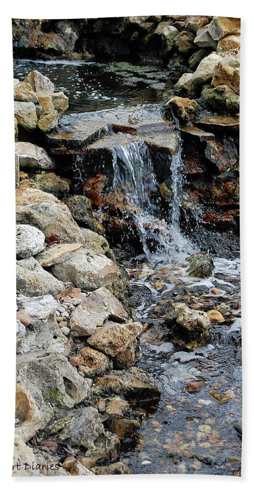 River Beach Towel featuring the digital art River Rock Of The Unknown by DigiArt Diaries by Vicky B Fuller