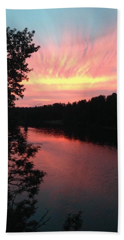 River Beach Towel featuring the photograph River sunset by Shari Chavira