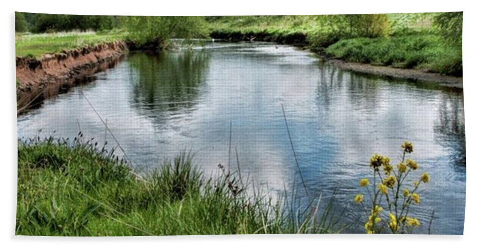 Nature_perfection Beach Sheet featuring the photograph River Tame, Rspb Middleton, North by John Edwards