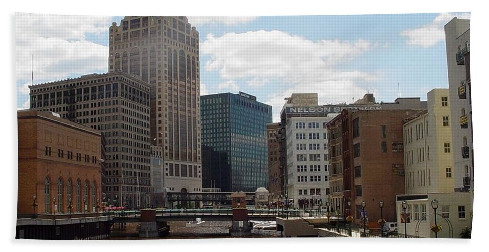 Milwaukee Beach Towel featuring the photograph River View by Anita Burgermeister
