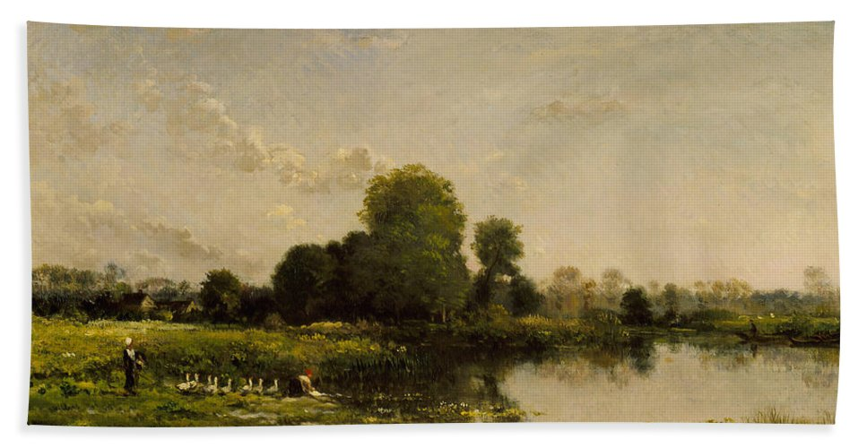 French Art Beach Towel featuring the painting Riverbank With Fowl by Charles Francois Daubigny