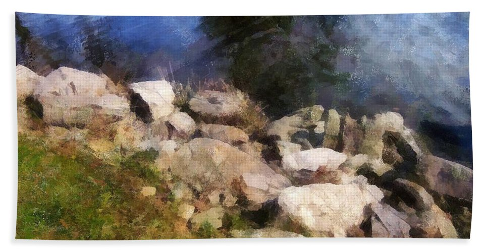 Connecticut Beach Towel featuring the painting River's Edge by RC DeWinter