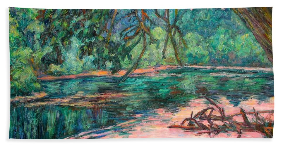 Riverview Park Beach Towel featuring the painting Riverview At Dusk by Kendall Kessler