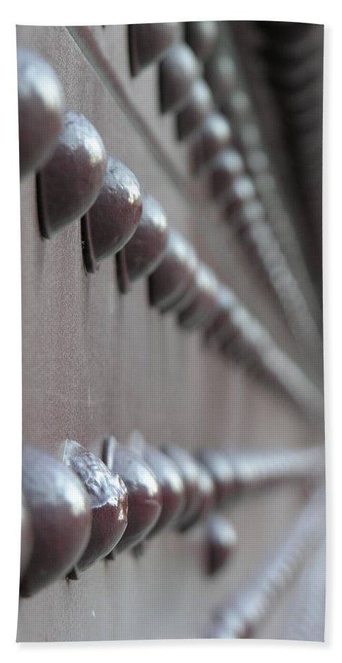 Rivets Beach Towel featuring the photograph Rivets by Diane Greco-Lesser