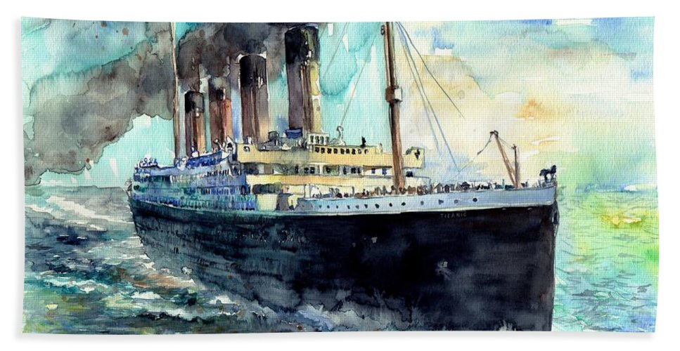 Rms Titanic Beach Towel featuring the painting Rms Titanic White Star Line Ship by Suzann Sines