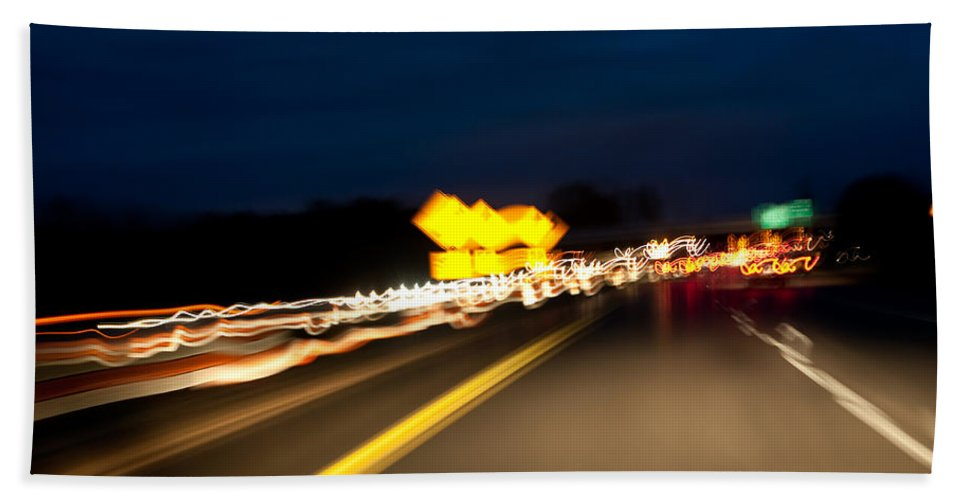 Freeway Beach Towel featuring the photograph Road At Night 1 by Steven Dunn