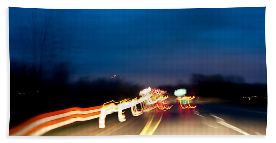 Beach Towel featuring the photograph Road At Night 4 by Steven Dunn