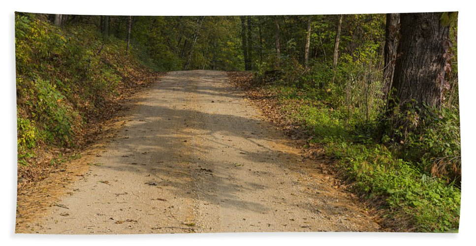Road Beach Towel featuring the photograph Road In Woods Autumn 2 A by John Brueske