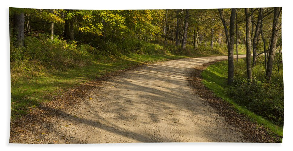 Road Beach Towel featuring the photograph Road In Woods Autumn 3 A by John Brueske