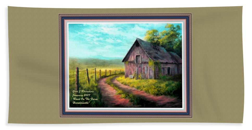 Farm Beach Towel featuring the painting Road On The Farm Haroldsville L A With Decorative Ornate Printed Frame. by Gert J Rheeders