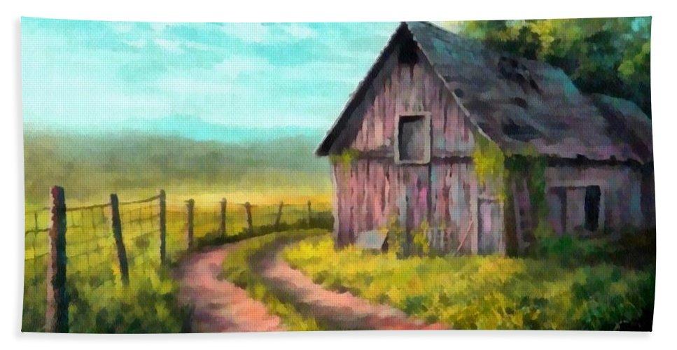 Farm Beach Towel featuring the painting Road On The Farm Haroldsville L B by Gert J Rheeders