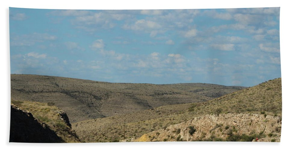 New Mexico Beach Towel featuring the photograph Road Through New Mexico Desert High Noon by Colleen Cornelius
