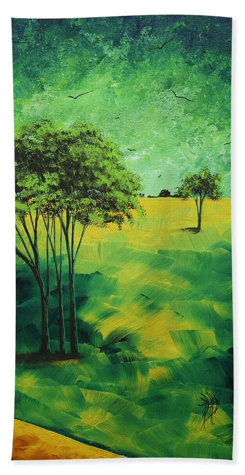 Contemporary Beach Towel featuring the painting Road To Nowhere 1 By Madart by Megan Duncanson