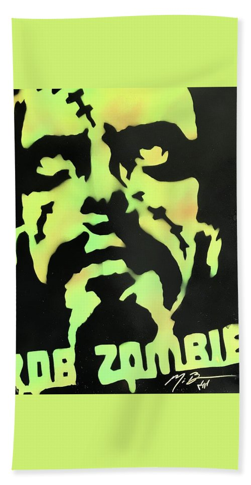 Rob Zombie Beach Towel featuring the painting Zombie by Michael Bergman