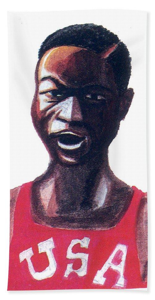 Sport Beach Towel featuring the painting Robert Bob Beamon by Emmanuel Baliyanga