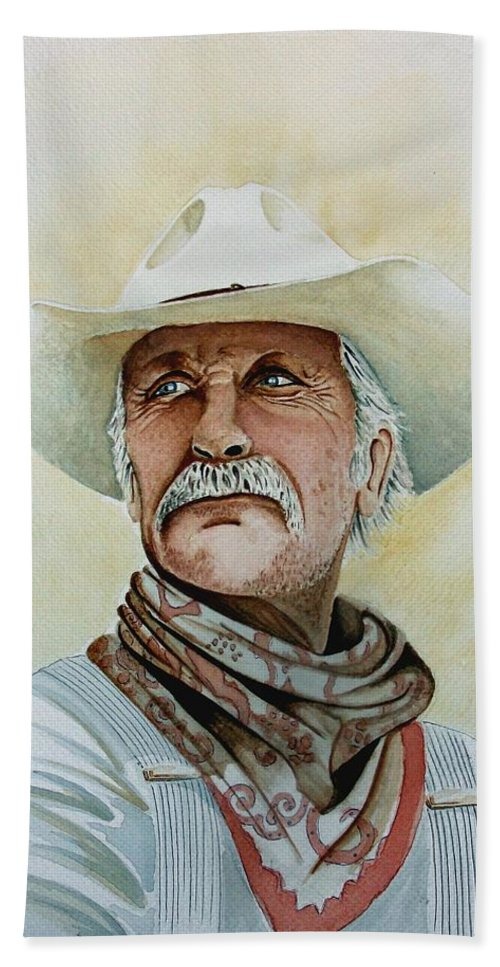 Cowboy Beach Towel featuring the painting Robert Duvall As Augustus Mccrae In Lonesome Dove by Jimmy Smith