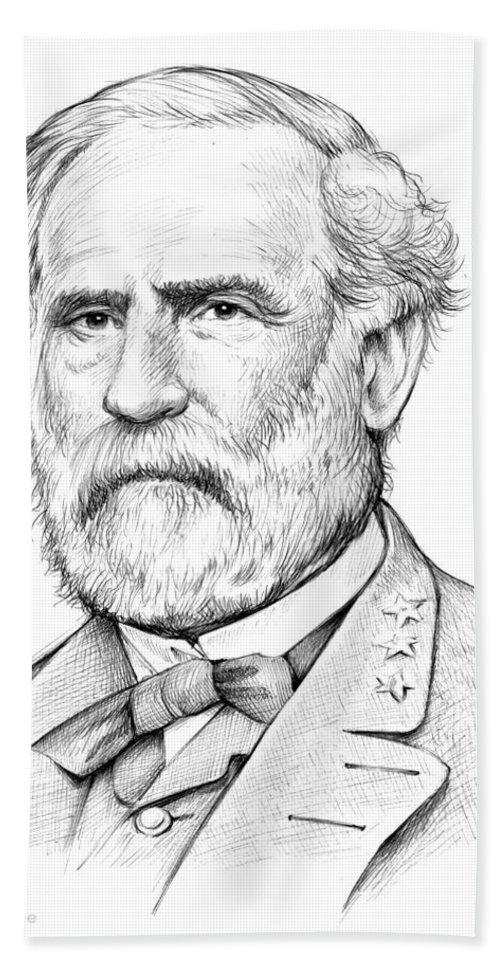 Robert E. Lee Beach Sheet featuring the drawing Robert E. Lee by Greg Joens