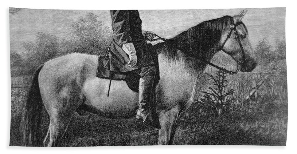 Robert E Lee Beach Towel featuring the drawing Robert E Lee On His Horse Traveler by American School