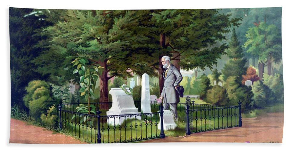 Robert E Lee Beach Towel featuring the painting Robert E. Lee Visits Stonewall Jackson's Grave by War Is Hell Store