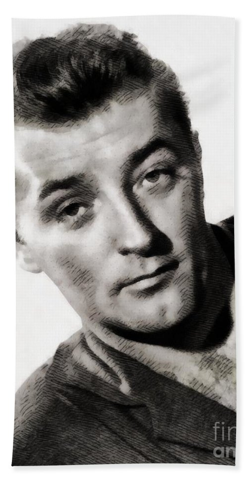 Hollywood Beach Towel featuring the painting Robert Mitchum, Vintage Actor by John Springfield