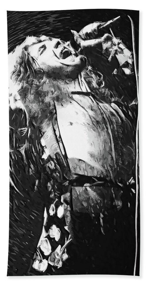 Led Zeppelin Beach Towel featuring the digital art Robert Plant by Zapista OU