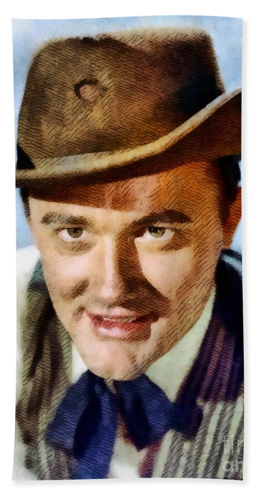 Hollywood Beach Towel featuring the painting Robert Vaughn, Vintage Actor by John Springfield