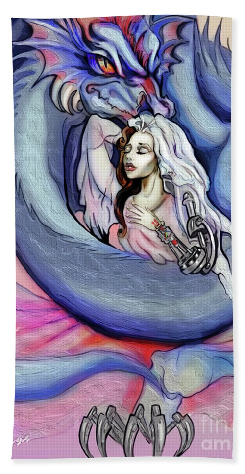 Robot Beach Towel featuring the digital art Robot Dragon Lady by Merida Winters