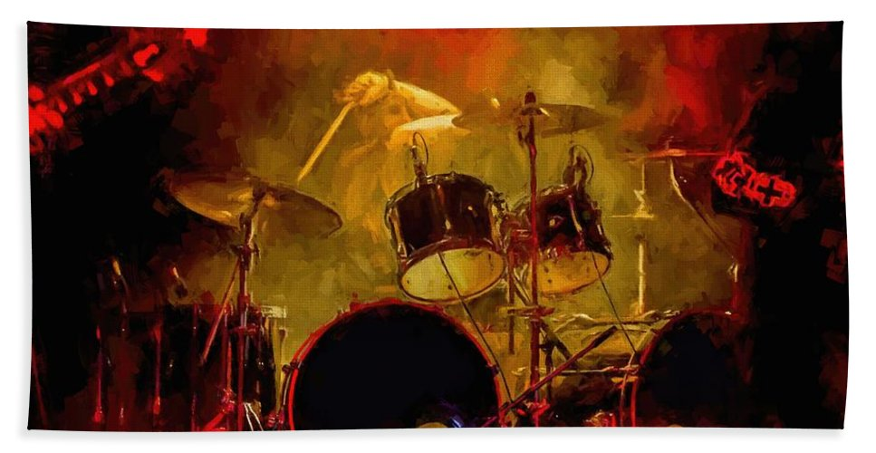 Rock And Roll Drum Solo # Rock And Roll # Drum Set # Rock And Roll Drum Paintings # Abstract Music Art # Zildjian # Drum Solo Painting # Concert # Smoke # Fog # Beach Towel featuring the digital art Rock And Roll Drum Solo by Louis Ferreira