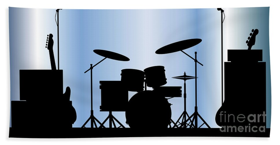 Rock Bandm Guitar Beach Towel featuring the digital art Rock Band Equipment by Bigalbaloo Stock