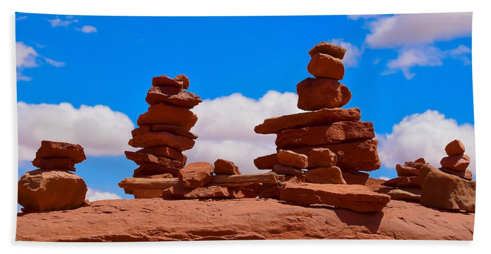 Rock Cairns In The Desert Beach Towel For Sale By Dany Lison