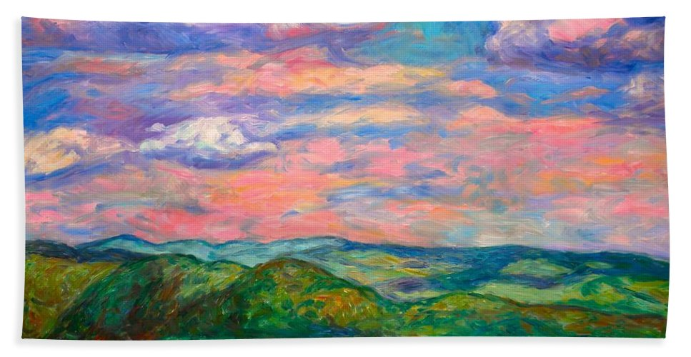 Landscape Paintings Beach Towel featuring the painting Rock Castle Gorge by Kendall Kessler