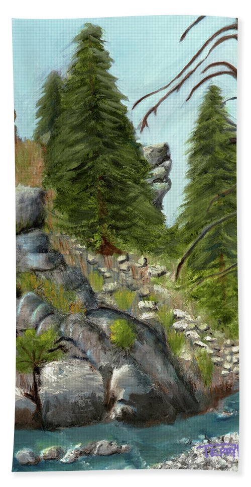 Landscape Beach Towel featuring the painting Rock Creek by Terry Lewey