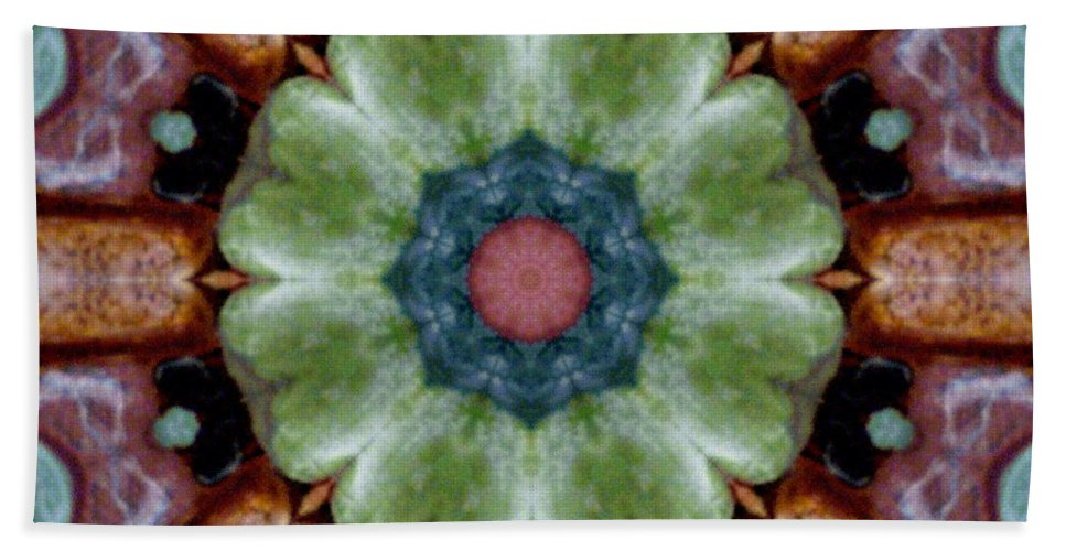 Digital Art Beach Towel featuring the digital art Rock Flower by Barbara Griffin