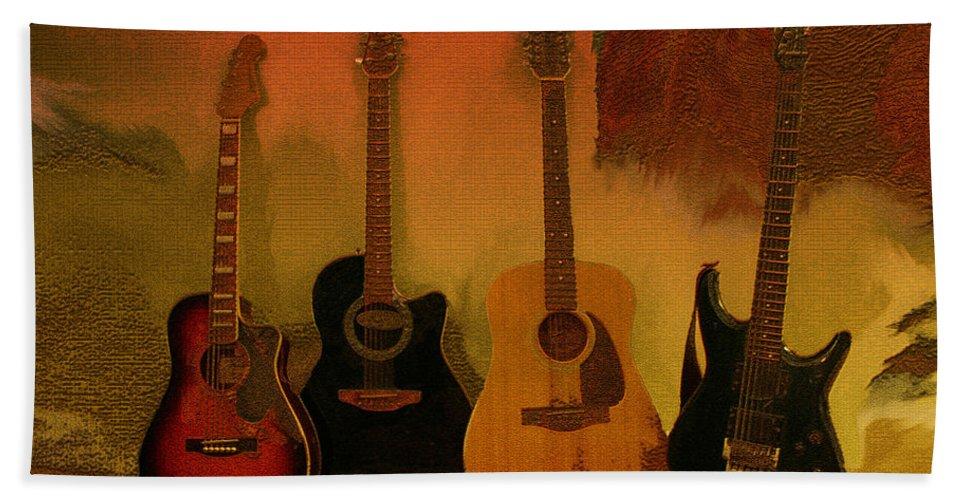 Music Beach Towel featuring the photograph Rock N Roll Guitars by Linda Sannuti