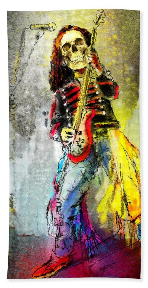 Halloween Beach Towel featuring the painting Rock N Roll The Bones by Miki De Goodaboom