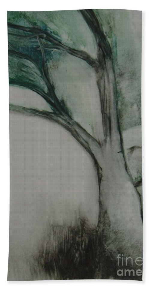 Monoprint Tree Rock Trees Beach Towel featuring the painting Rock Tree by Leila Atkinson